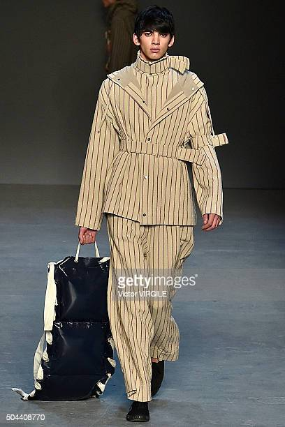 Model walks the runway at the Craig Green show during the London Collections Men AW16 at the Topman Show Space on January 8, 2016 in London, England.