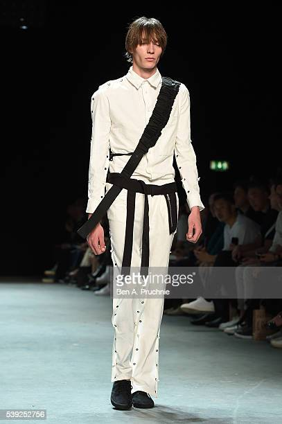 A model walks the runway at the Craig Green show during The London Collections Men SS17 at Topman Show Space on June 10 2016 in London England