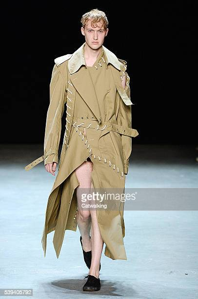 Model walks the runway at the Craig Green Spring Summer 2017 fashion show during London Menswear Fashion Week on June 10, 2016 in London, United...