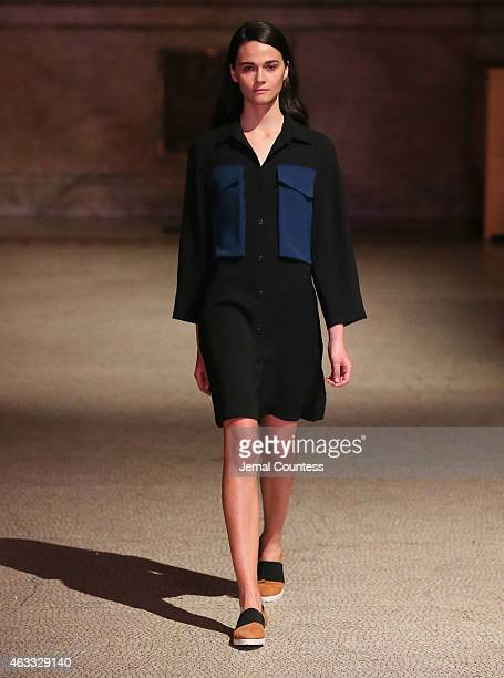 A model walks the runway at the Creatures of Comfort fashion show at Capitale on February 12 2015 in New York City