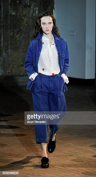 A model walks the runway at the Creatures of Comfort fashion show during Fall 2016 New York Fashion Week at The Highline on February 11 2016 in New...