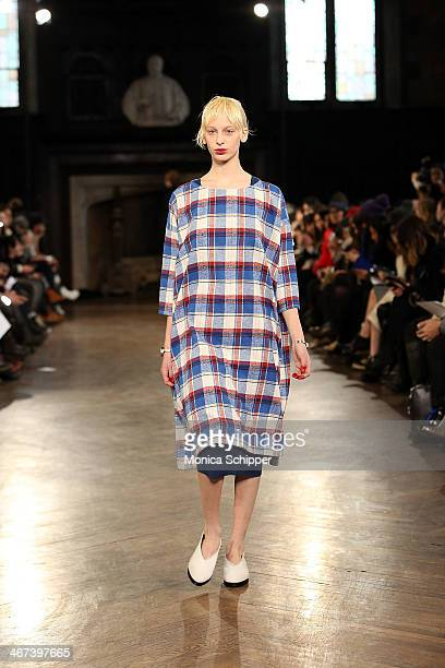 A model walks the runway at the Creatures Of Comfort fashion show during MercedesBenz Fashion Week Fall 2014 at The Highline Hotel on February 6 2014...