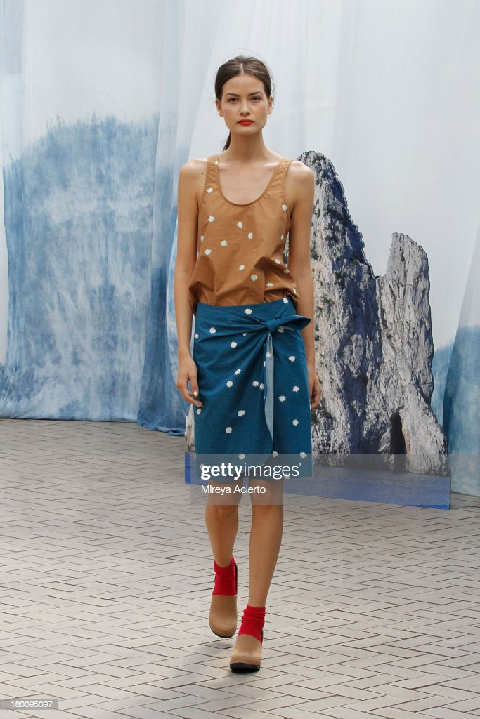 A model walks the runway at the Creatures of Comfort Presentation at Maritime Hotel on September 8, 2013 in New York City.