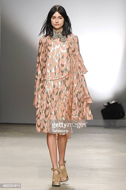 A model walks the runway at the Creatures of the Wind Autumn Winter 2015 fashion show during New York Fashion Week on February 12 2015 in New York...