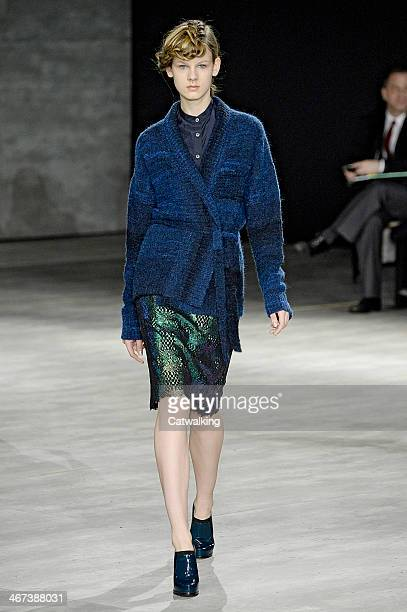 A model walks the runway at the Creatures of the Wind Autumn Winter 2014 fashion show during New York Fashion Week on February 6 2014 in New York...