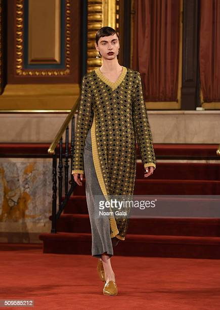 A model walks the runway at the Creatures of the Wind fashion show during Fall 2016 New York Fashion Week on February 11 2016 in New York City