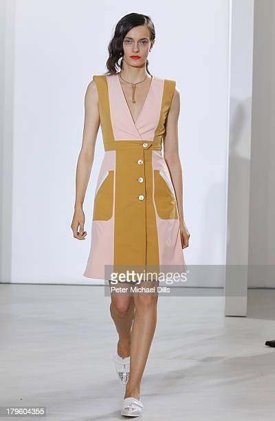 A model walks the runway at the Creatures Of The Wind Spring 2014 fashion show during MercedesBenz Fashion Week at Pace Gallery Downtown on September...