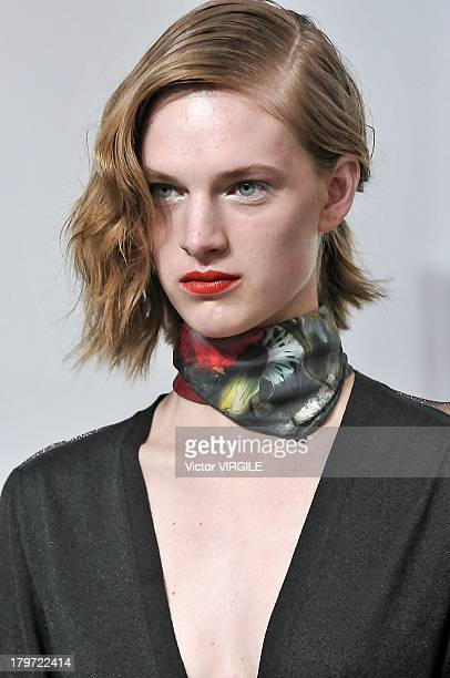 A model walks the runway at the Creatures Of The Wind Spring Summer 2014 fashion show during MercedesBenz Fashion Week at Pace Gallery Downtown on...
