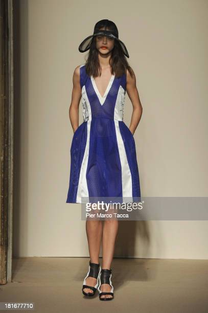Model walks the runway at the Cristiano Burani show as a part of Milan Fashion Week Womenswear Spring/Summer 2014 at on September 23, 2013 in Milan,...