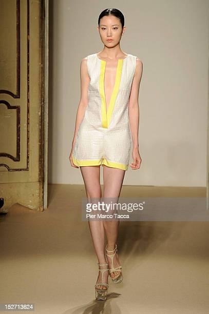A model walks the runway at the Cristiano Burani Spring/Summer 2013 fashion show as part of Milan Womenswear Fashion Week on September 24 2012 in...