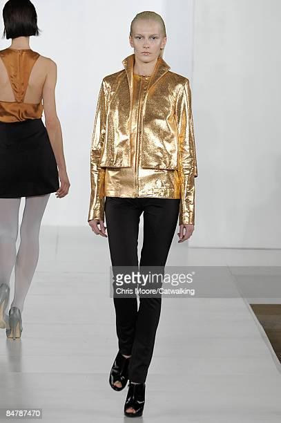 A model walks the runway at the Cushnie et Ochs Fall 2009 fashion show during MercedesBenz Fashion Week at Celeste Bartos New York Public Library on...
