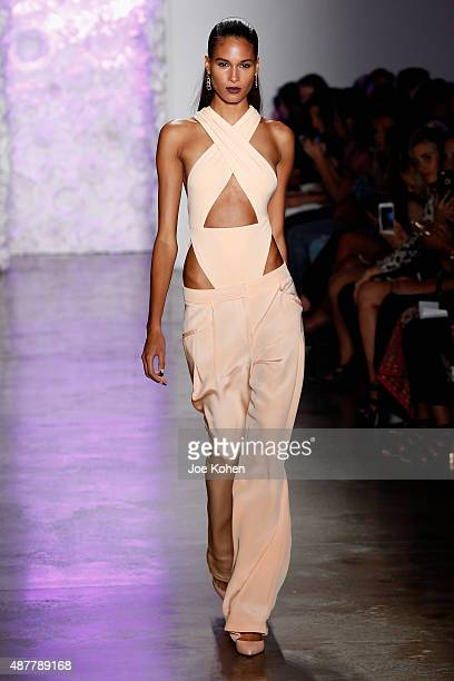 A model walks the runway at the Cushnie Et Ochs fashion show during Spring 2016 MADE Fashion Week at Milk Studios on September 11 2015 in New York...