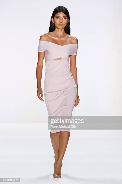 A model walks the runway at the Cushnie Et Ochs show during the MercedesBenz Fashion Week Berlin Spring/Summer 2017 at Erika Hess Eisstadion on July...