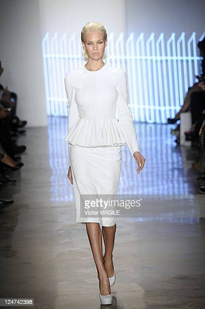 Model walks the runway at the Cushnie Et Ochs Spring 2012 fashion show during Mercedes-Benz Fashion Week at Milk Studios on September 8, 2011 in New...