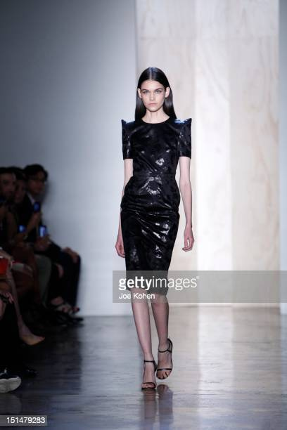 Model walks the runway at the Cushnie et Ochs spring 2013 fashion show during Mercedes-Benz Fashion Week at Milk Studios on September 7, 2012 in New...