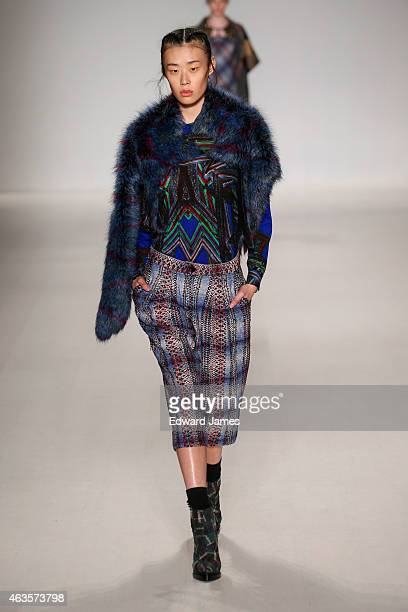 Model walks the runway at the Custo Barcelona fashion show at The Salon at Lincoln Center on February 15, 2015 in the Brooklyn borough of New York...