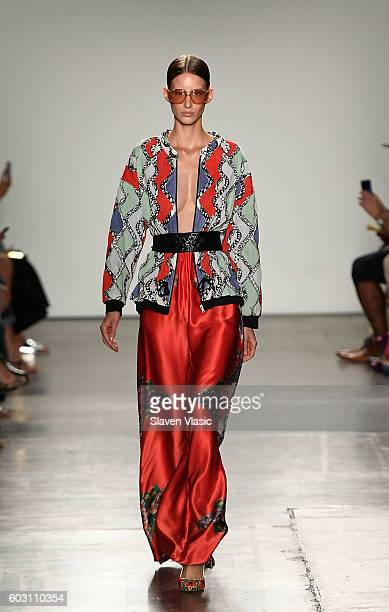 A model walks the runway at the Custo Barcelona fashion show during New York Fashion Week September 2016 at Pier 59 Studios on September 11 2016 in...