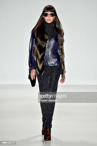 A model walks the runway at the Custo Barcelona fashion show during MercedesBenz Fashion Week Fall 2014 at The Salon at Lincoln Center on February 9...