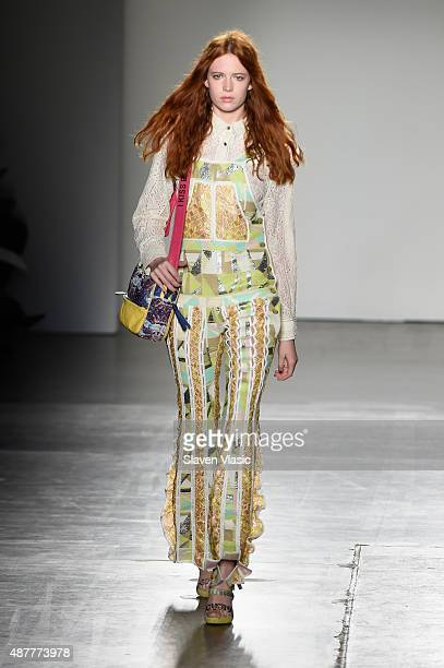 A model walks the runway at the Custo Barcelona fashion show during Spring 2016 New York Fashion Week The Shows at Pier 59 on September 11 2015 in...