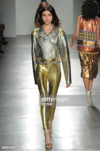 A model walks the runway at the Custo Barcelona Fashion Show during Spring 2018 New York Fashion Week at Pier 59 on September 9 2017 in New York City