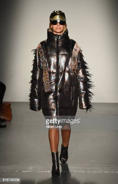 A model walks the runway at the Custo Barcelona show during New York Fashion Week The Shows at Pier 59 on February 10 2018 in New York City