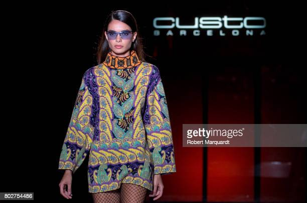 A model walks the runway at the Custo Barcelona show during the Barcelona 080 Fashion Week on June 28 2017 in Barcelona Spain