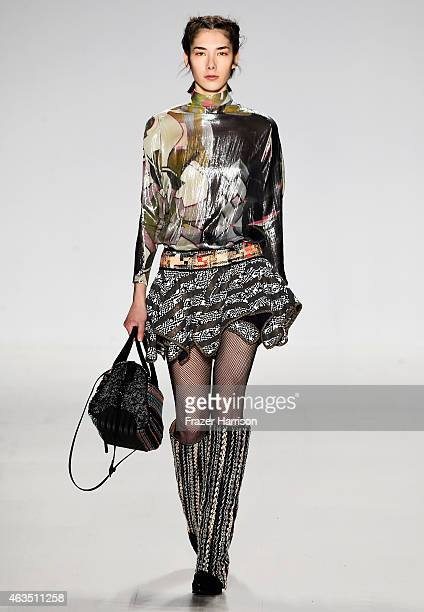 A model walks the runway at the Custo Barcelonafashion show during MercedesBenz Fashion Week Fall 2015 at The Salon at Lincoln Center on February 15...