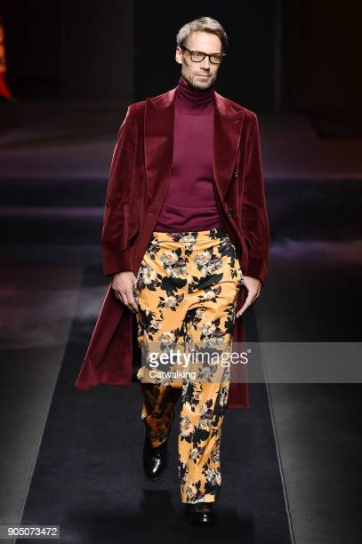 A model walks the runway at the Daks Autumn Winter 2018 fashion show during Milan Menswear Fashion Week on January 14 2018 in Milan Italy