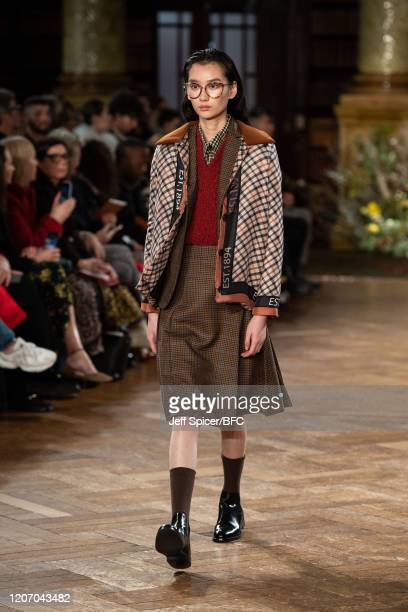 Model walks the runway at The DAKS show during London Fashion Week February 2020 on February 18, 2020 in London, England.