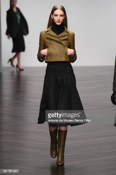A model walks the runway at the DAKS show during London Fashion Week Fall/Winter 2013/14 at Somerset House on February 16 2013 in London England