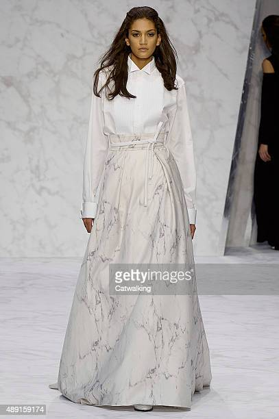 A model walks the runway at the Daks Spring Summer 2016 fashion show during London Fashion Week on September 18 2015 in London United Kingdom