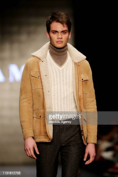 A model walks the runway at the Damat show during MercedesBenz Fashion Week at the Zorlu Performance Hall in Istanbul Turkey on March 19 2019