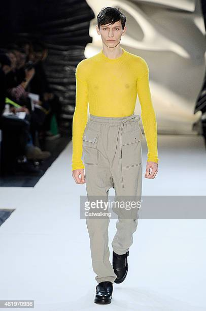 Model walks the runway at the Damir Doma Autumn Winter 2015 fashion show during Paris Menswear Fashion Week on January 22, 2015 in Paris, France.