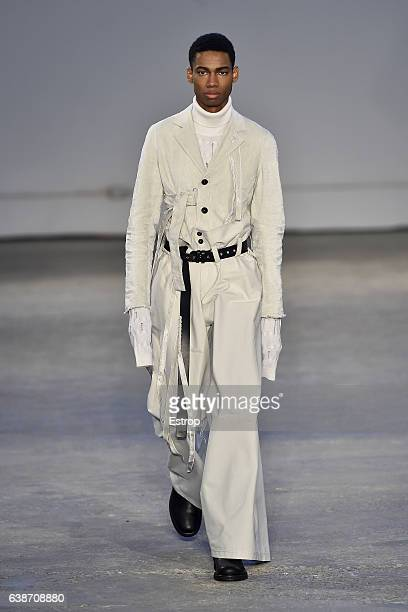Model walks the runway at the Damir Doma show during Milan Men's Fashion Week Fall/Winter 2017/18 on January 15, 2017 in Milan, Italy.