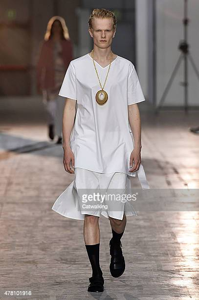 A model walks the runway at the Damir Doma Spring Summer 2016 fashion show during Milan Menswear Fashion Week on June 22 2015 in Milan Italy