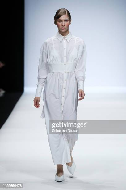 A model walks the runway at the #damur show during the Berlin Fashion Week Spring/Summer 2020 at ewerk on July 02 2019 in Berlin Germany