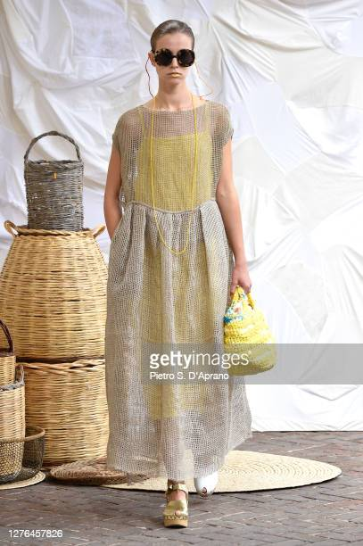 A model walks the runway at the Daniela Gregis fashion show during the Milan Women's Fashion Week on September 24 2020 in Milan Italy