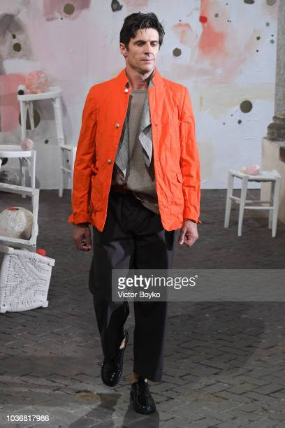 A model walks the runway at the Daniela Gregis show during Milan Fashion Week Spring/Summer 2019 on September 20 2018 in Milan Italy