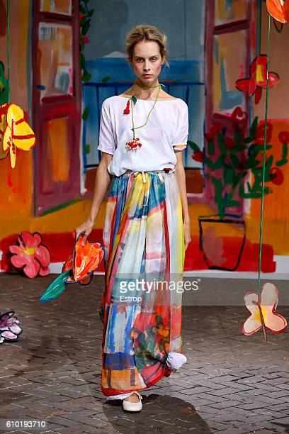 A model walks the runway at the Daniela Gregis show Milan Fashion Week Spring/Summer 2017 on September 22 2016 in Milan Italy