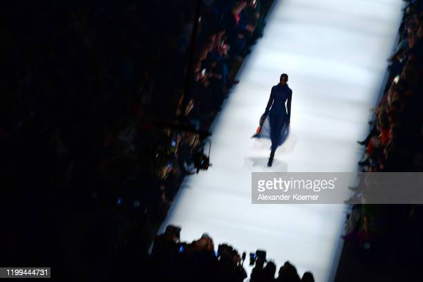 Model walks the runway at the Danny Reinke show during Berlin Fashion Week Autumn/Winter 2020 at Kraftwerk Mitte on January 14, 2020 in Berlin,...