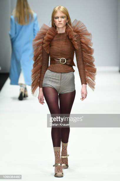 Model walks the runway at the Danny Reinke show during the Berlin Fashion Week Autumn/Winter 2019 at ewerk on January 16, 2019 in Berlin, Germany.