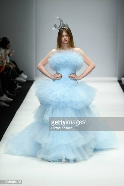A model walks the runway at the Danny Reinke show during the Berlin Fashion Week Autumn/Winter 2019 at ewerk on January 16 2019 in Berlin Germany