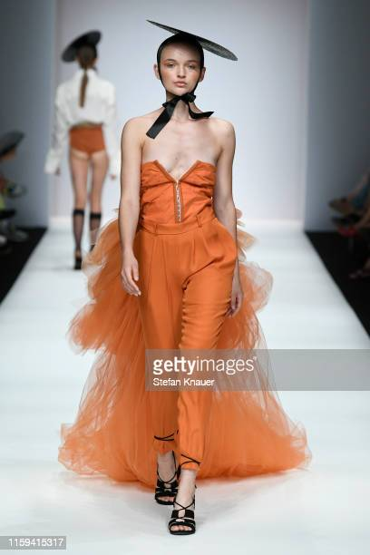 Model walks the runway at the Danny Reinke show during the Berlin Fashion Week Spring/Summer 2020 at ewerk on July 01, 2019 in Berlin, Germany.