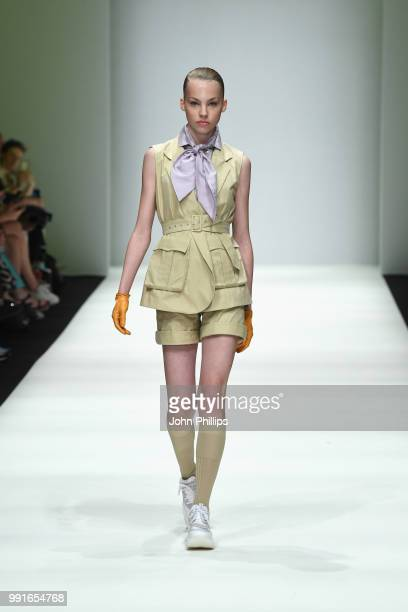 Model walks the runway at the Danny Reinke show during the Berlin Fashion Week Spring/Summer 2019 at ewerk on July 4, 2018 in Berlin, Germany.