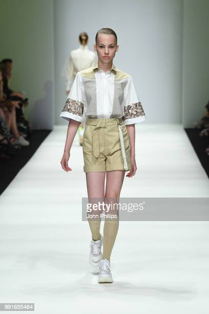 A model walks the runway at the Danny Reinke show during the Berlin Fashion Week Spring/Summer 2019 at ewerk on July 4 2018 in Berlin Germany