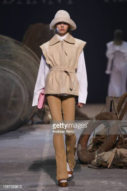 Model walks the runway at the Danny Reinke show during the Mercedes-Benz Fashion Week Berlin January 2021 at Kraftwerk Mitte on January 19, 2021 in...