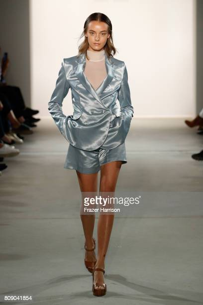 Model walks the runway at the Danny Reinke show during the Mercedes-Benz Fashion Week Berlin Spring/Summer 2018 at Kaufhaus Jandorf on July 5, 2017...
