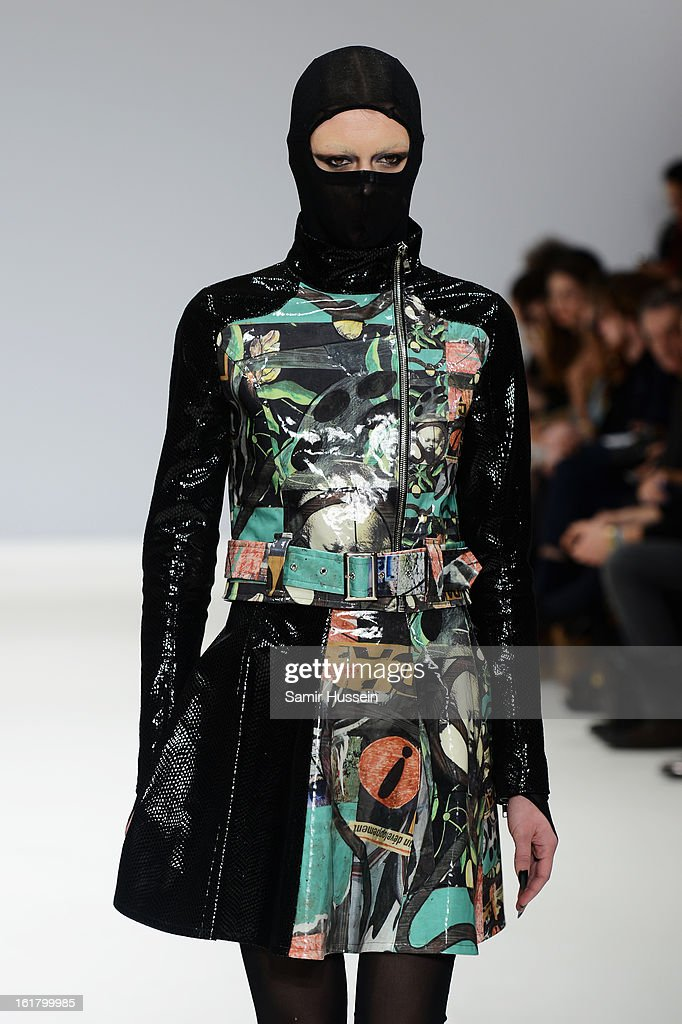 A model walks the runway at the Dans La Vie show during London Fashion Week Fall/Winter 2013/14 at Freemasons Hall on February 16, 2013 in London, England.