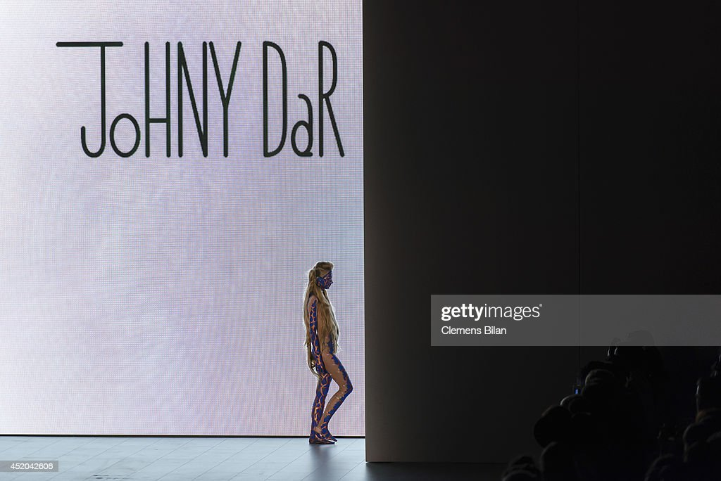 A model walks the runway at the Dare By Johny Dar show during the Mercedes-Benz Fashion Week Spring/Summer 2015 at Erika Hess Eisstadion on July 11, 2014 in Berlin, Germany.