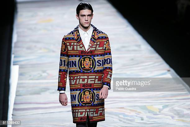 Model walks the runway at the David Delfin show during the Mercedes-Benz Madrid Fashion Week Autumn/Winter 2016/2017 at Ifema on February 19, 2016 in...